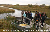 """The workshop participants visit """"Rakovie Lakes"""" reserve - one of the sites for Bewick's Swan in Russia / Photo: Nicky Petkov (Wetlands International)"""