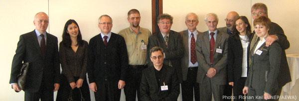 Pictured from left: V. Ivlev (Russian Delegation), A. Duimagambetova (AEWA Secretariat), S. Kurdjukov (CMS Secretariat), I. Chestin (WWF Russia), Robert Hepworth (CMS Secretariat), A. Grigoryan (UNDP/GEF), A. Müller-Helmbrecht (CMS Secretariat), Dr. A. Amirkhanov (Russian Delegation), A. Antipov (Russian AdW), J. Sadirov (BMU), H. Schumacher (BfN)