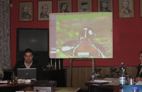 Photo: Nicky Petkov (Wetlands International) presenting the CSN Tool at the RBGIWG  workshop in Moscow, Russia.