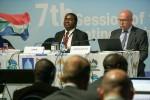 Shonisani Munzhedzi (South Africa / MOP7 Chair) and Jacques Trouvilliez (Executive Secretary of AEWA) © Aydin Bahramlouian