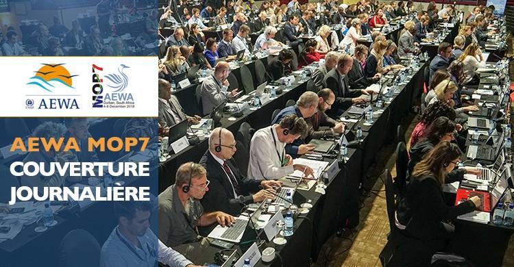 Les délégués lors de session plénière pendant la deuxième journée de la MOP7 à Durban, en Afrique du sud