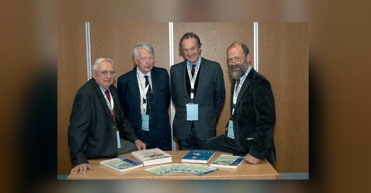 Patrons of Waterbirds around the world: from left to right: Harvey Nelson (USA), Hugh Boyd (Canada), Geoffrey Matthews (UK) and Eckhart Kuijken (Belgium) -  Photo: Dougie Barnett